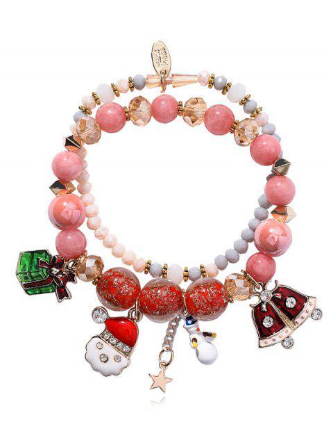 Bracelet Charmant Perlé Bonhomme de Neige - Rose   Mobile
