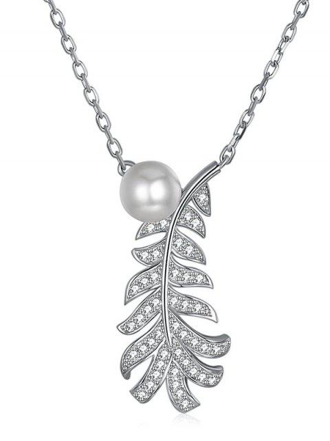 affordable Leaf Rhinestone Inlaid Pendant Necklace - WHITE  Mobile