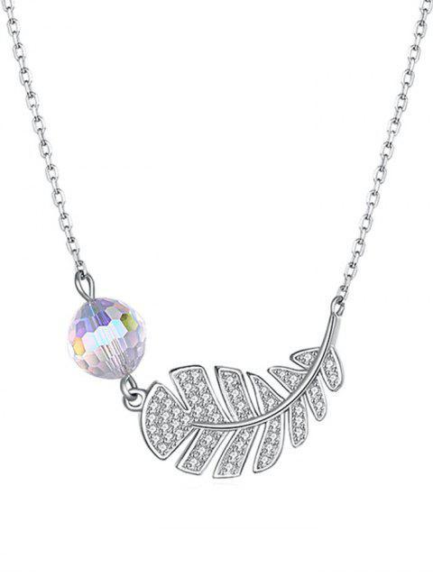women Platinum Plated Leaf Shape Drop Necklace - TRANSPARENT  Mobile