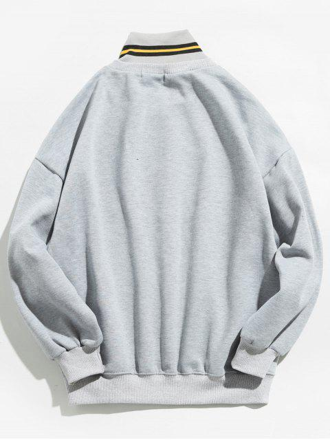 women's Winter Zipper Stand Collar Sweatshirt - GRAY CLOUD M Mobile