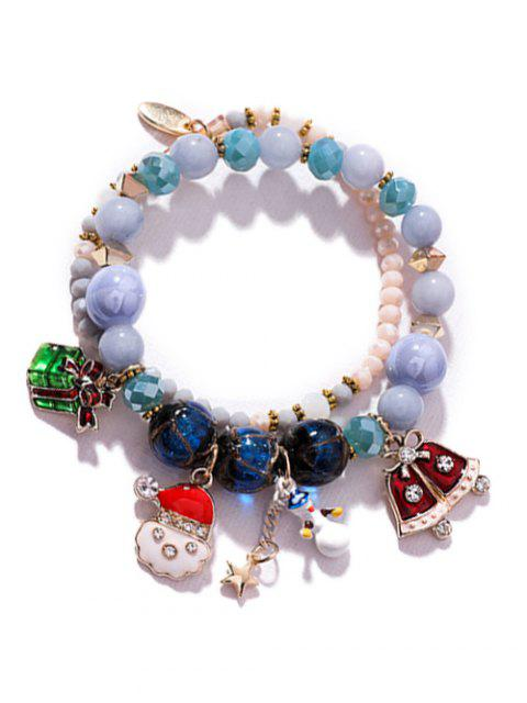 best Snowman Christmas Beaded Charm Bracelet - CRYSTAL BLUE  Mobile