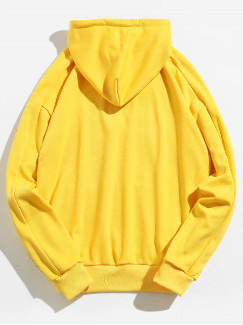 chic Letter Embroidery Pouch Pocket Hoodie - YELLOW M Mobile