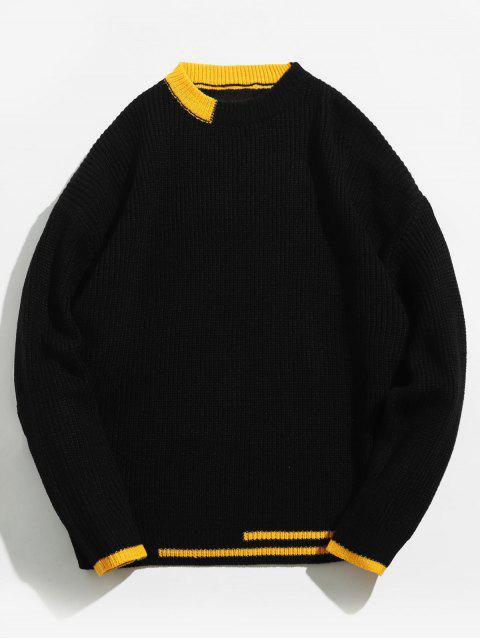 buy Color Block Stripe Knitted Sweater - BLACK S Mobile