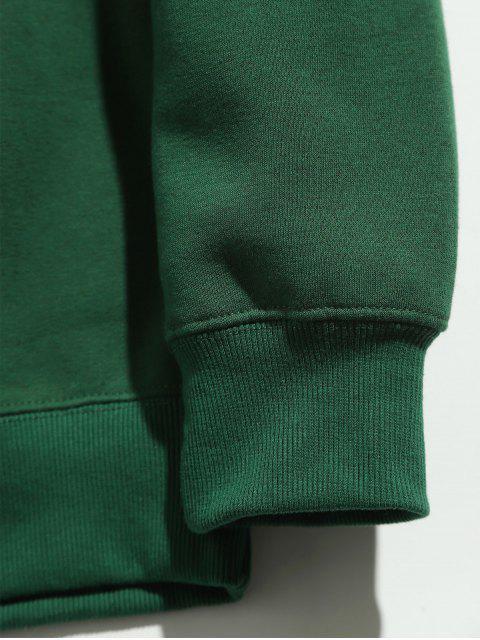 fashion Round Print Round Neck Sweatshirt - DEEP GREEN S Mobile
