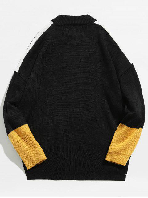 shop Japanese Embroidery Round Neck Sweater - BLACK S Mobile