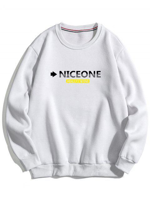 buy Chest Letter Pullover Fleece Sweatshirt - WHITE XS Mobile
