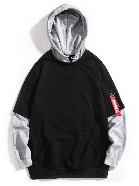 new Hand Print False Two Piece Hoodie - BLACK XS Mobile