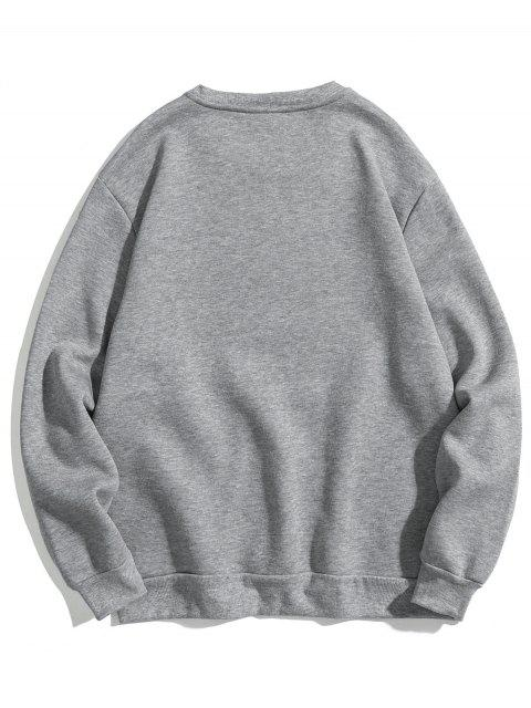 outfits Letter Print Soft Fleece Sweatshirt - GRAY XS Mobile