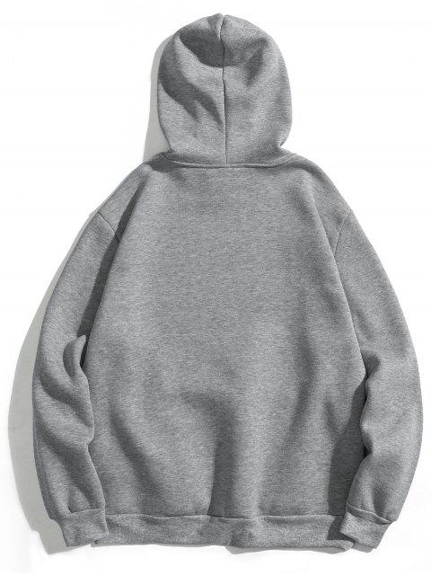 chic Letter Soft Fleece Hoodie - GRAY M Mobile