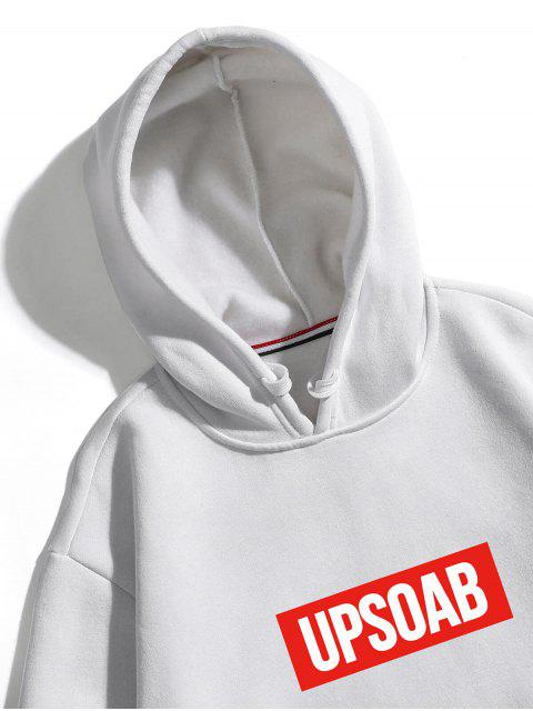 unique Graphic Pullover Fleece Hoodie - WHITE S Mobile