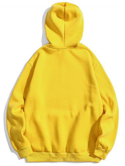 buy Graphic Pullover Fleece Hoodie - YELLOW XL Mobile
