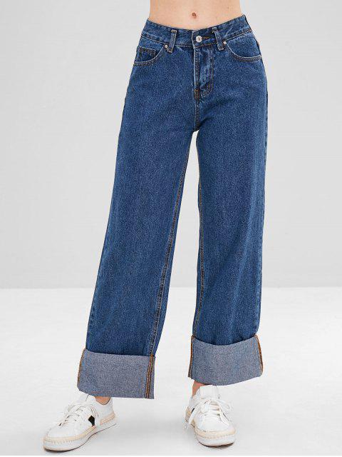 best Pockets Wide Leg Cuffed Jeans - DENIM BLUE L Mobile