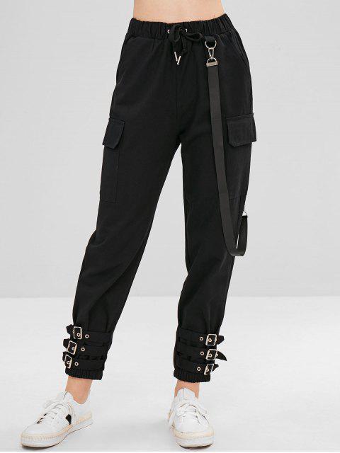 Cinturón adornado pantalones de lazo - Negro L Mobile