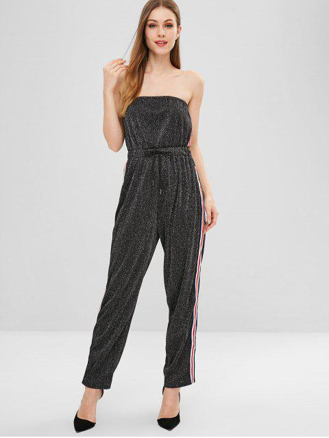 outfit Stripes Shiny Strapless Jumpsuit - BLACK S Mobile
