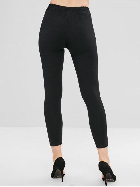 womens Eye Eyelash Print Skinny Pants - BLACK L Mobile