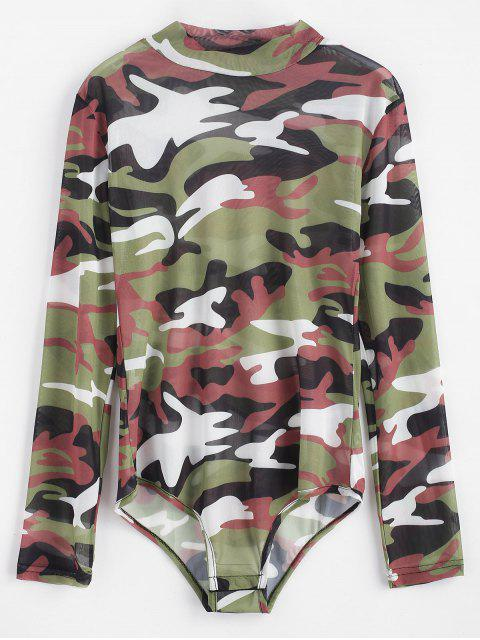 women Camouflage Snap Button Bodysuit - WOODLAND CAMOUFLAGE M Mobile