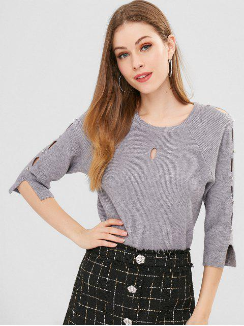 fancy Studded Cut Out Sweater - GRAY ONE SIZE Mobile
