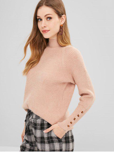 Suéter con cuello simulado con puños abotonados - Tan Talla única Mobile