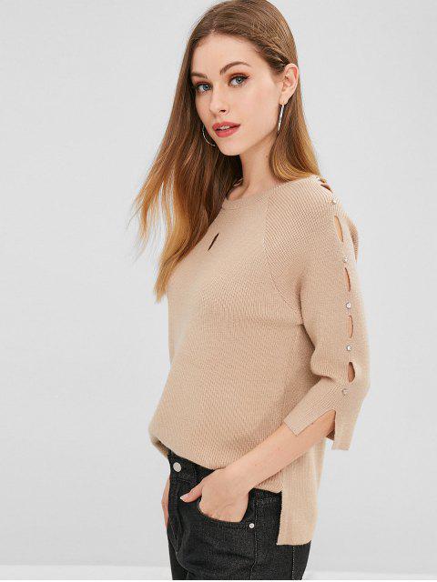 Nietenbesetzter Cutout Sweater - Helles Khaki Eine Größe Mobile