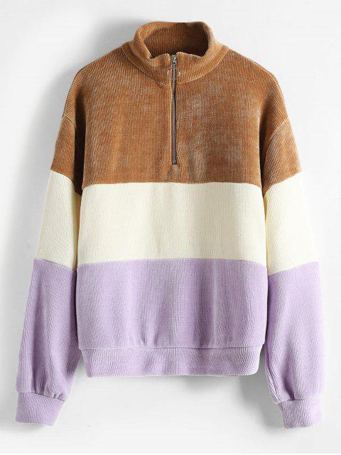 Farbblock Chenille Sweatshirt - Multi S Mobile