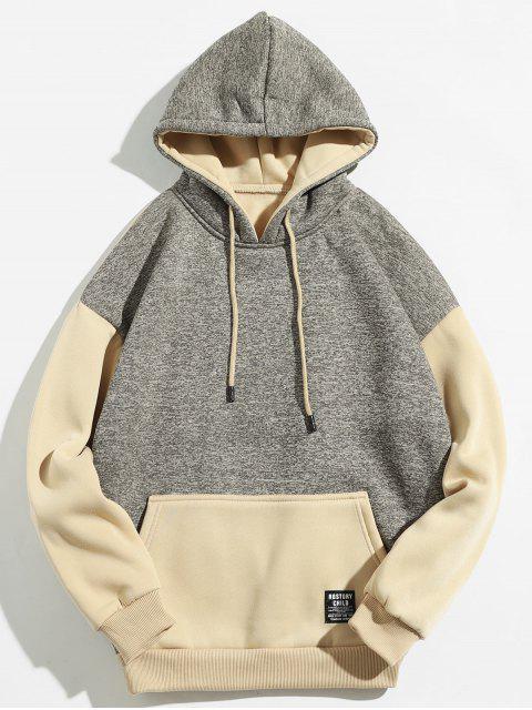 Känguru-Tasche Kontrastfarbe Hoodie - Helles Khaki XL Mobile