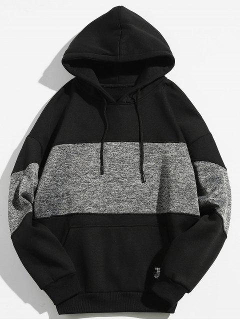 Drop Schulter Panel Hoodie - Schwarz M Mobile