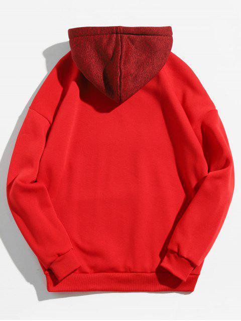 hot Kangaroo Pocket Contrast Color Hoodie - CHESTNUT RED L Mobile