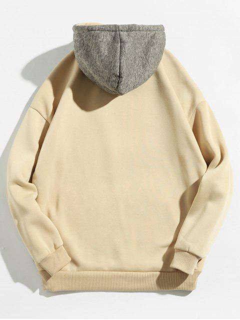 affordable Kangaroo Pocket Contrast Color Hoodie - LIGHT KHAKI 2XL Mobile