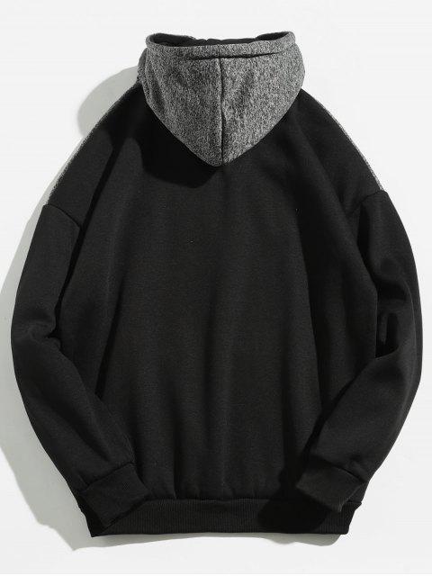 outfits Kangaroo Pocket Contrast Color Hoodie - BLACK M Mobile