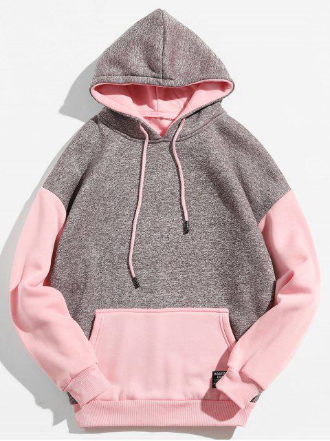 Sweat à capuche de couleur contrastante avec poche kangourou - Rose Léger  XL Mobile