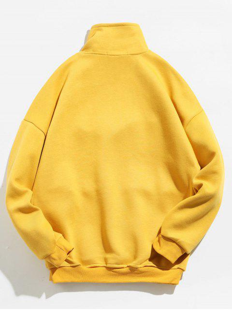 chic Half Zip Plaid Print Sweatshirt - YELLOW M Mobile