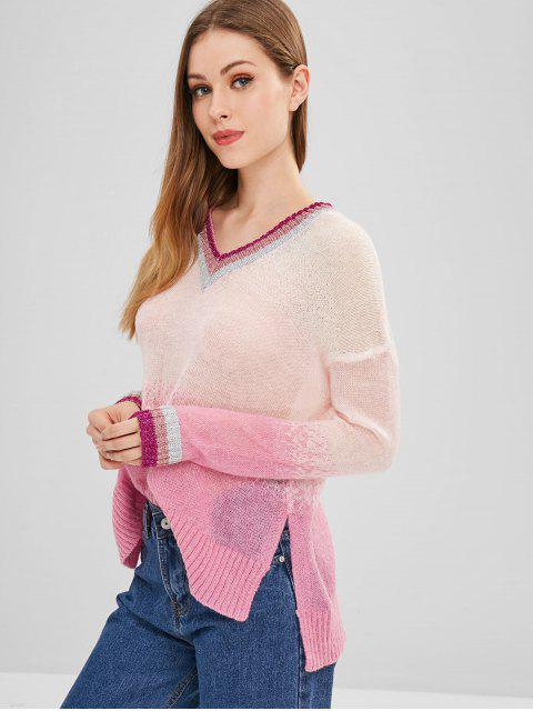 best ZAFUL Stripes Ombre V Neck Sweater - MULTI ONE SIZE Mobile