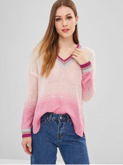 ZAFUL Stripes Ombre Pullover mit V-Ausschnitt - Multi Eine Größe Mobile