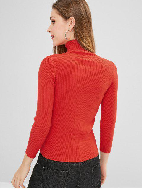online ZAFUL Turtleneck Ribbed Sweater - RED ONE SIZE Mobile