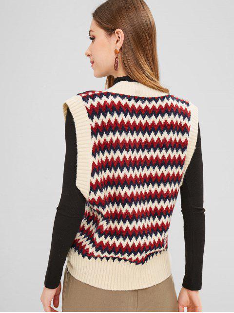 hot ZAFUL Zig Zag V Neck Vest Sweater - MULTI ONE SIZE Mobile