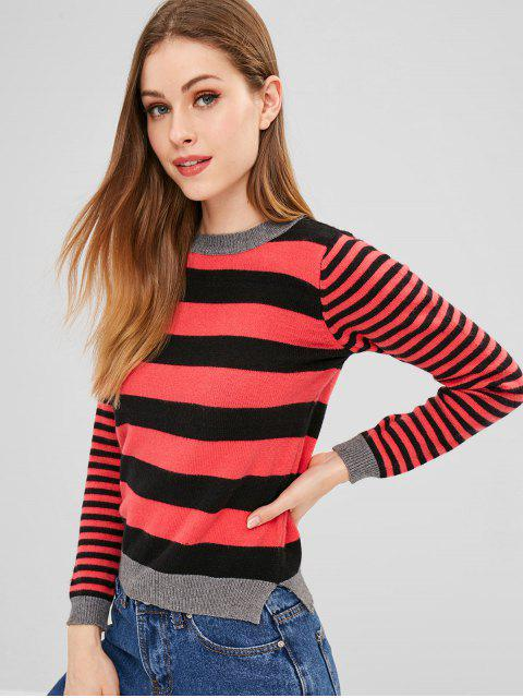 outfit ZAFUL Slit Stripes Sweater - MULTI ONE SIZE Mobile