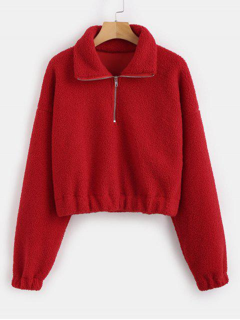 shops Half Zip Plain Faux Fur Sweatshirt - RED S Mobile