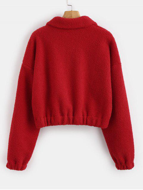 outfit Half Zip Plain Faux Fur Sweatshirt - RED M Mobile