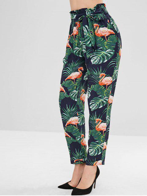 Flamenco hojas hojas de palma pantalones rectos - Multicolor S Mobile