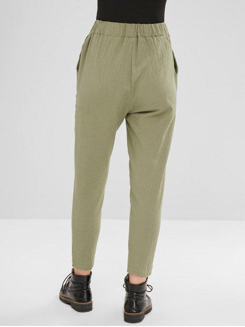 womens Plain High Waisted Straight Pants - CAMOUFLAGE GREEN L Mobile