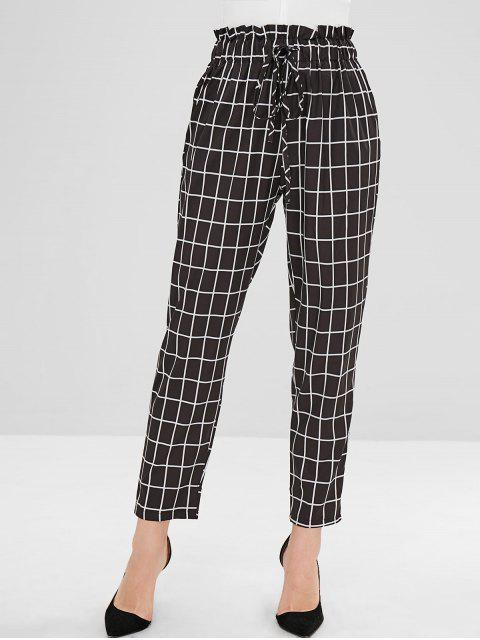 Pantalon droit à taille haute à carreaux - Noir L Mobile