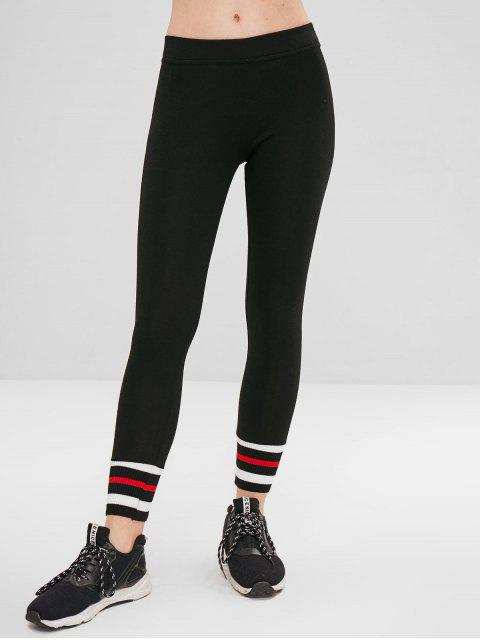 buy Striped Cuff Ponte Pants - BLACK M Mobile