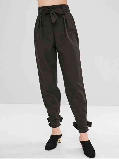 Pantalon droit noué à la ceinture - Noir L Mobile