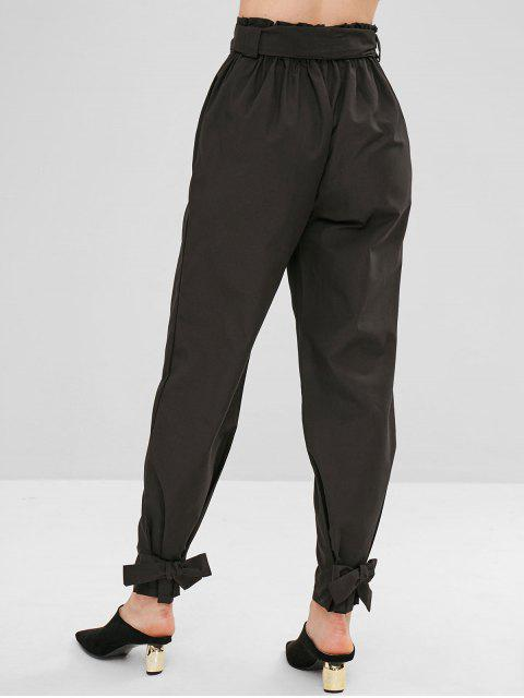 shop Belted Knotted Straight Pants - BLACK L Mobile