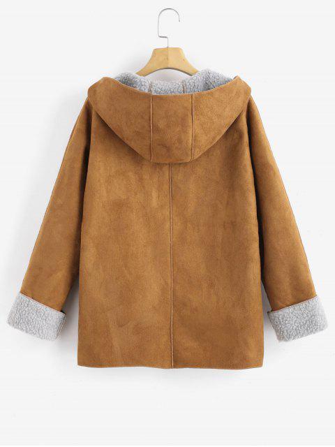 Manteau à Capuche Peau de Mouton à Manches à Rebords - Caramel S Mobile