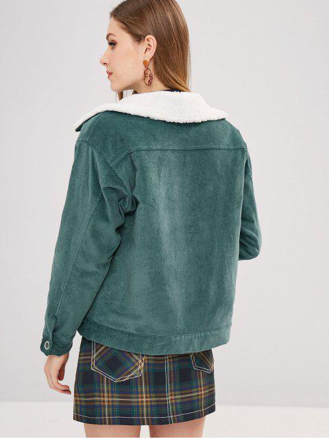 women ZAFUL Snap Button Sheepskin Jacket - DARK TURQUOISE M Mobile