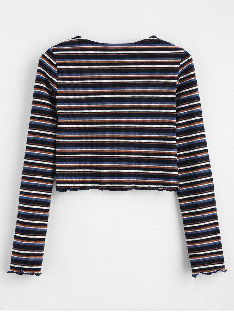 fancy Crop Knit Striped Tee - MULTI ONE SIZE Mobile