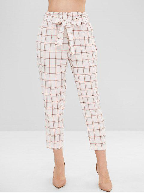 chic Pockets Plaid Belted Straight Pants - WHITE L Mobile
