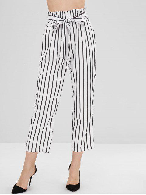 Pantalon Droit Rayé Ceinturé avec Poches - Blanc M Mobile