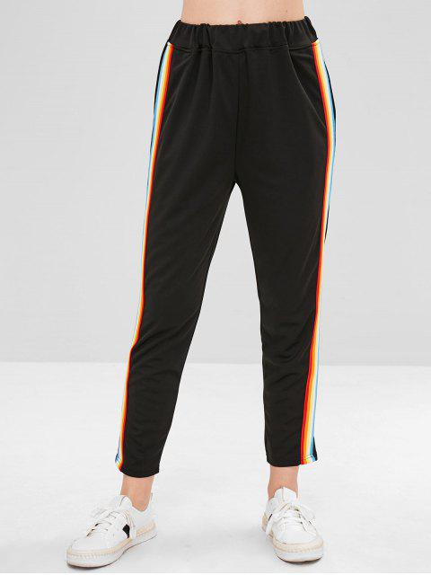 affordable Colorful Stripes Straight Pants - BLACK S Mobile